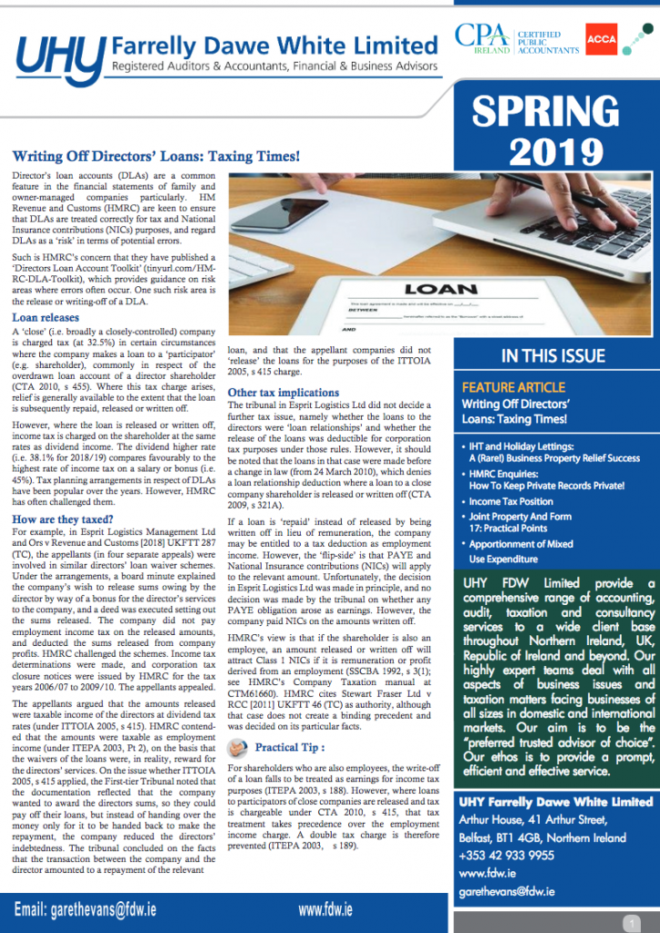 UK Ni Newsletter Tax Spring 2019