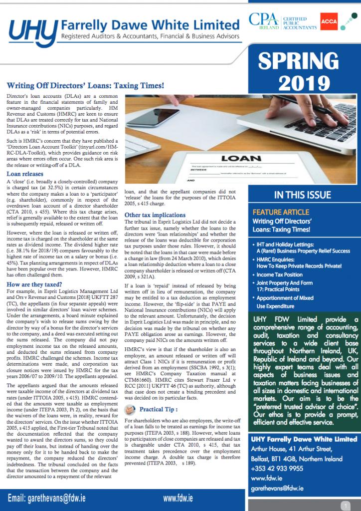 UK Ni Newsletter Tax Spring 2019